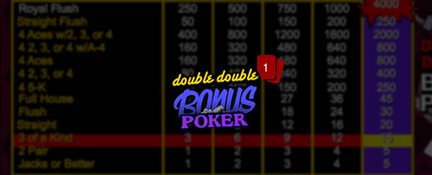 If you enjoy Double Bonus Poker, then you'll definitely want to pull up a seat for Double Double Bonus Poker. With its timeless style, laid-back feel and even bigger payouts, it's easy to see why. Simply press Deal and the dealer will issue you five cards; you can press Hold to keep the ones you want and discard the rest. Jacks or better is all you need to pocket a payday. Not to mention that this draw poker game boasts a special payout for hands with 4 of a kind – meaning you can add even more to your wallet.