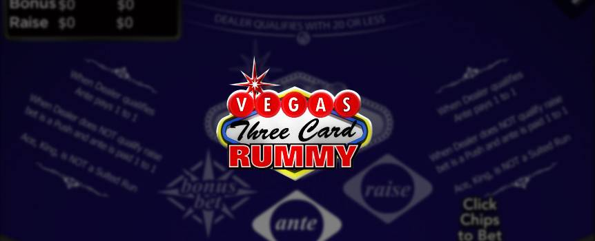 Slots.lv is bringing the excitement of Las Vegas to your fingertips with Vegas Three Card Rummy. This fun 52-card casino game isn't like the rest. In fact, it goes against the grain of every game on the planet because in Vegas Three Card Rummy, the lowest score wins the game.