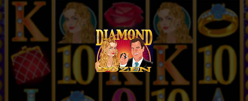 The only thing better than one diamond is a dozen diamonds.  Play this online Slot game and experience the excitement of getting diamonds.  Find a rare Blue Diamond and get showered with free spins and doubled prize values. Everyone loves diamonds and it's time to find out why. Spin Diamond Dozen online Slot and discover why women and men alike love the sparkle of this rare gem.