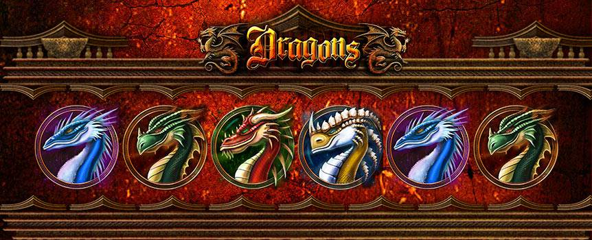 In all fairy tales, dragons are creatures to be feared. In this popular dragon slot machine by Slots.lv, the dragons are certainly no different.  Only the bravest will have the will and courage to battle these fire-breathing creatures and collect the gold they're protecting. This thrilling 5-Reel slot game will throw fireballs, flaming wilds and much more your way. Escape the lair of these fiery beasts and take home some dragon slots cash. Don't forget, there's also a random progressive jackpot to be conquered when you play the Dragons slot machine.