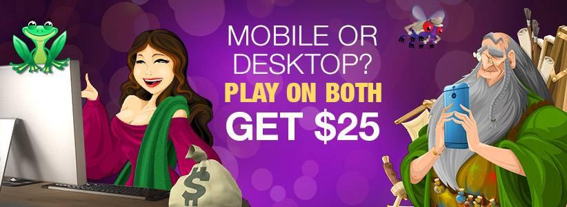 $25 Mobile & Desktop Slots lv Deposit Bonus